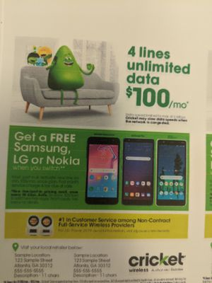 Cricket Wireless Free Phones when you Switch & Save for Sale in Canton, MS