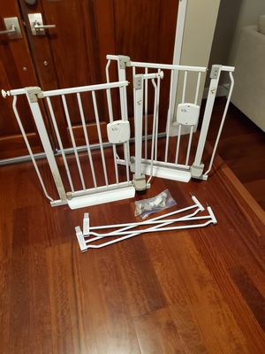 FREE 2x the first years baby gates pressure mounted with expanders for Sale in Pleasanton, CA