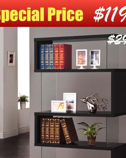 4-Tier Black Bookcase with Clear Glass on Sides for Sale in Los Angeles,  CA