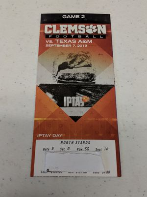 Clemson vs Texas A&M Ticket (Section O 50yd line) Great seat for Sale in Greenville, SC