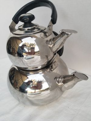 Stainless steel teakettle with mimi kettle on too for loose tea on top for Sale in Las Vegas, NV