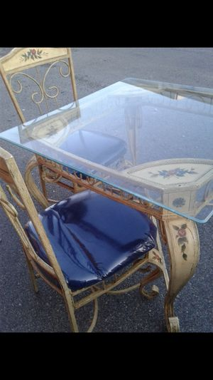 Glass Table with 4 Chairs Set for Sale in Brentwood, NC