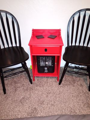 RED END TABLE AND BLACK WOOD CHAIRS for Sale in Fresno, CA