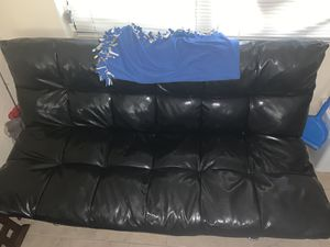 Perth Black Leather Futon (converts into full size bed) for Sale in Port St. Lucie, FL