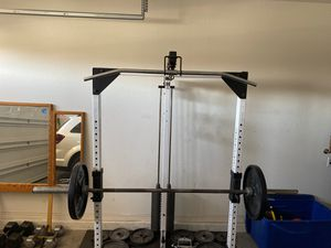 Weights, Olympic weights, squat cage with lat pull downs and tricep extension for Sale in Phoenix, AZ