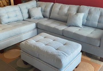 SPECIAL DEAL‼️ Blue 3pcs Sectional Sofa w/Ottoman‼️ SAME DAY DELIVERY‼️No credit check‼️ for Sale in Las Vegas,  NV