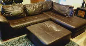 Brown leather sectional couch sofa lounge with ottoman furniture L coffee for Sale in Waco, TX