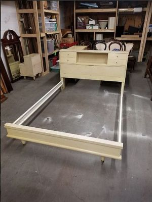 Full Size Blonde Wood Bed Frame w/ Cubby Style Headboard for Sale in Syracuse, NY