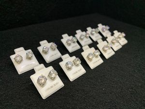 12 Pairs 2 Carat (8mm) 925 Sterling silver CZ round stud earrings for Sale in Irvine, CA