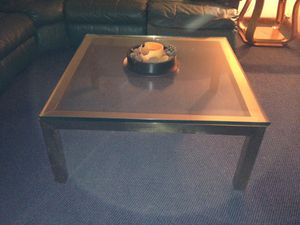 Brass coffee table , console table with 3/4 inch glass tops... Brass stand with glass selves. Retro look for your home. All in good condition. for Sale in Somerset, PA