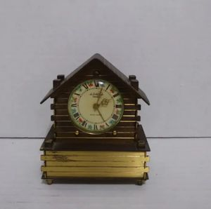 Rare Old Vintage TableTop Clock Vintage Helveco 7 Seven Jewels Log House Clock Made in Swiss Antique for Sale in Chicago, IL