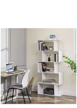 Wooden Bookcase, 5-Tier Display Shelf and Room Divider, Freestanding Decorative Storage Shelving Bookshelf, White for Sale in Ontario, CA