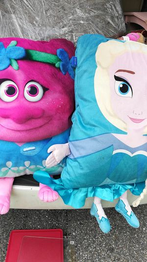 Large pillows One Disney Trolls and one Disney Frozen for Sale in Indianapolis, IN