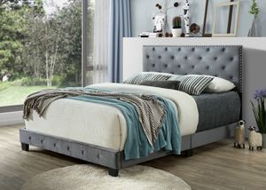 Queen size silver bed frame with mattress and box spring free delivery for Sale in Irving, TX