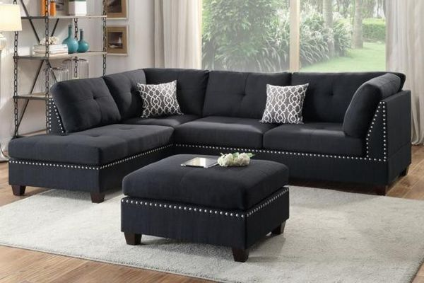 Brand New Black Linen Sectional Sofa Couch + Ottoman