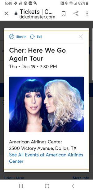 Cher Tickets-2 Floor Seats for Sale in Cedar Hill, TX