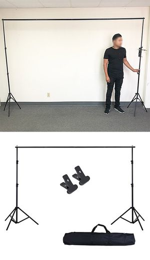 New $30 Adjustable Backdrop Stand (6.5ft tall x 10ft wide) Photo Photography Background w/ Carry Bag & 2 Clip for Sale in El Monte, CA