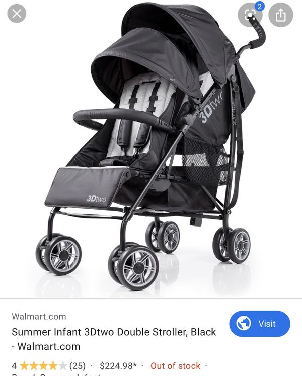 NEW!!! 3dtwo double convenience stroller - black