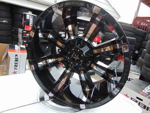 22X12 RBP Black Rims with Chrome Inserts DODGE *5X5.5*5X5*-44MM Offset for Sale in Aurora, CO
