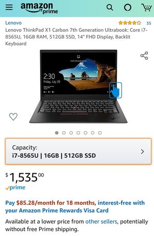 Lenovo Thinkpad x1 Carbon 7th Gen i7-8565u 16GB for Sale in Temple City, CA
