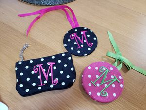 Polka dot monogram luggage tags, coin purse, keychain for Sale in Rockville, MD