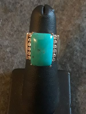 Sterling silver turquoise and white topaz ring for Sale in Grand Ledge, MI