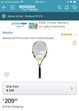 Tennis Racket (Babolat pure aero team 2019) for Sale in Portland, OR