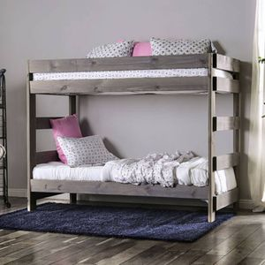 Solid Wood Grey Twin/ Twin Bunk Bed for Sale in Fresno, CA