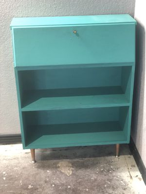 Emerald Mid mod secretary desk/shelving unit for Sale in Englewood, CO