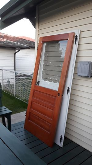 Solid oak backdoor with glass for Sale in Butte, MT