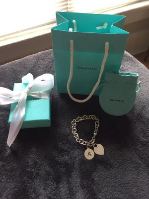 Tiffany & Co. heart and 'A' initial charm bracelet for Sale in Columbus, OH