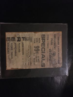 Clear Framed 1940s Indian Lake Ohio amusement park advertisement and a token For admission to the Sandy Beach Park for Sale in Dublin, OH