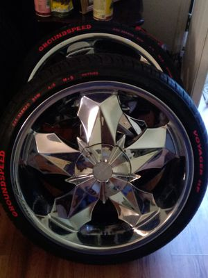 """20"""" Chrome Rims With Brand New Tires Trimmed In Red for Sale in Delco, NC"""