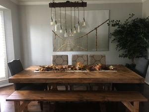 Custom Built Farmhouse Dining / Breakfast Table & Bench Solid Wood Modern Farm House Handcrafted for Sale in Houston, TX