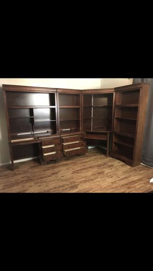 Bookcases with 2 Desks i.e. computer hutch/keyboard, drawers, & TV stand for Sale in Colleyville, TX