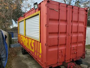 Container firework stand with electric lighting and shelving for Sale in Bacliff, TX
