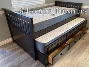 TWIN/TWIN TRUNDLE BEDS W MATTRESSES INCLUDED. for Sale in Perris, CA