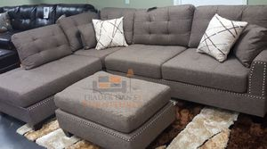 Brand New Coffee Color Linen Sectional Sofa Couch + Ottoman for Sale in Silver Spring, MD