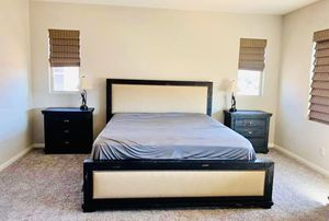 Farm house rustic Cal King bed frame/ mattress & box spring/2 matching nightstands for Sale in San Diego, CA