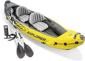 Intex Explorer Kayak, 2 Person Inflatable Kayak w/ Aluminum Oars and Pump for Sale in Moreno Valley, CA
