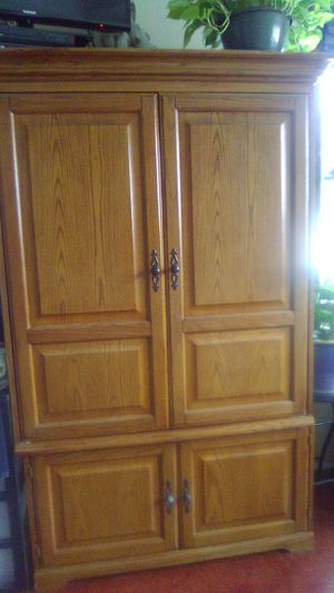 Oak armoire two peace for Sale in South Heart, ND