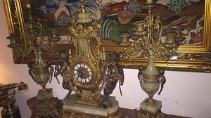 Antique Italian marble and brass clock and candelabra set for Sale in Laguna Beach, CA