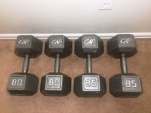 CAP Hex Dumbbells 80 and 85 pound dumbbell weight sets for Sale in Boulder, CO