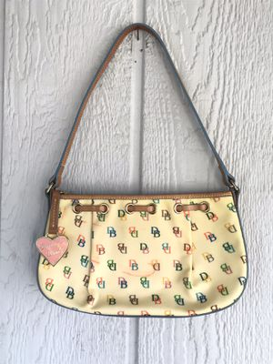 VTG Dooney & Bourke Purse Yellow Beige Rainbow Zipper DB Heart Hand Shoulder Bag Boosa for Sale in Santa Ana, CA