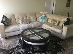 Sofa sectional with coffee table with 4 chairs and end table for Sale in Fairfax, VA
