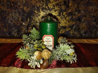 Holiday Table decoration With Green Pine Scented Pilar Candle for Sale in Bloomington,  IL
