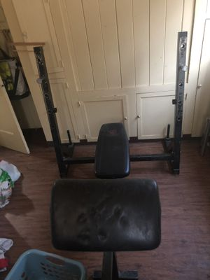 Marcy Bench Press + Preachers Curl + weight rack for Sale in Dinuba, CA
