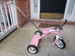 Radio Flyer Classic Pink Tricycle with 4 Position Push Handle for Sale in Duluth, GA