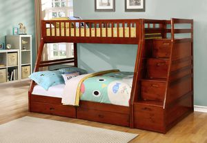 WALNUT TWIN/FULL BUNK BED WITH STORAGE STAIRCASE for Sale in Dearborn, MI