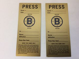 Boston Bruins press passes from Boston Garden for Sale in Depew, NY